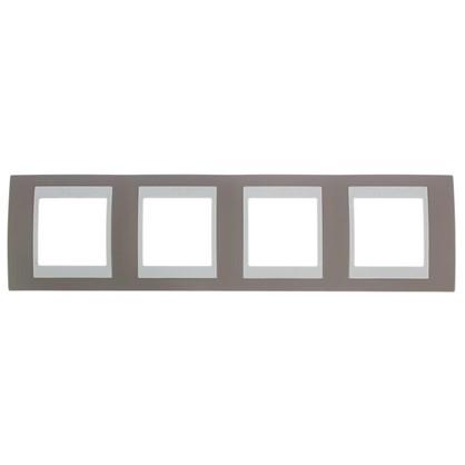 Рамка для розеток и выключателей Unica 4 поста цвет коричневый/бежевый