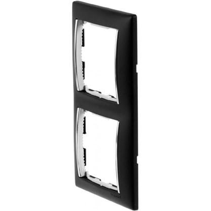 Рамка для розеток и выключателей Valena 2 поста цвет ноктюрн/серебряный штрих