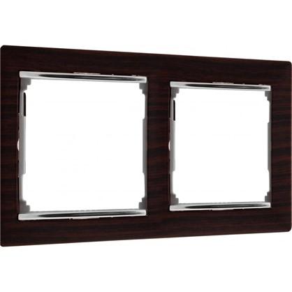 Купить Рамка для розеток и выключателей Valena 2 поста цвет светлое дерево/серебряный штрих дешевле
