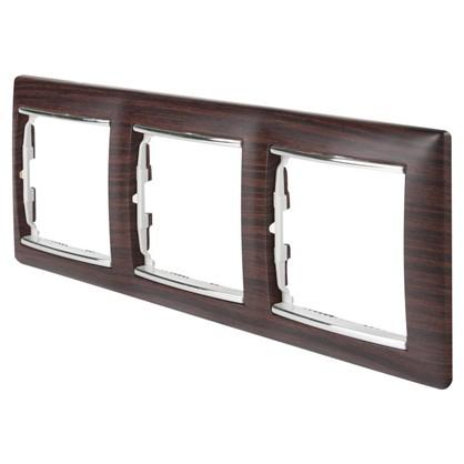 Рамка для розеток и выключателей Valena 3 поста цвет светлое дерево/серебряный штрих