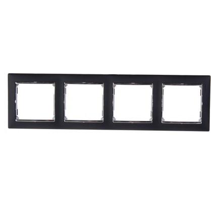 Рамка для розеток и выключателей Valena 4 поста цвет ноктюрн/серебряный штрих