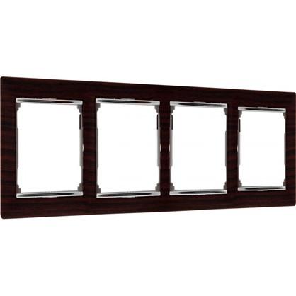 Рамка для розеток и выключателей Valena 4 поста цвет тёмное дерево/серебряный штрих