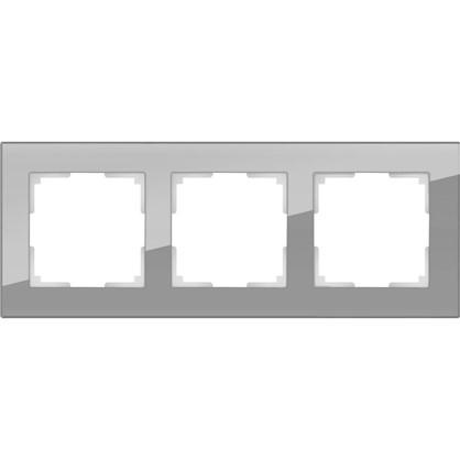 Рамка Favorit 3 поста цвет серое стекло
