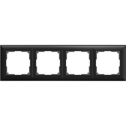 Рамка Fiore 4 поста цвет чёрный матовый
