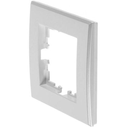Рамка плоская для розеток и выключателей 1 пост цвет жемчужно-белый матовый