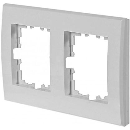 Рамка плоская для розеток и выключателей 2 поста цвет белый