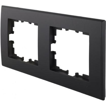 Рамка плоская для розеток и выключателей 2 поста цвет чёрный