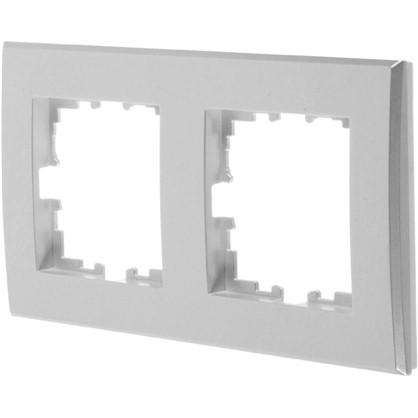Рамка плоская для розеток и выключателей 2 поста цвет жемчужно-белый