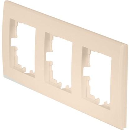 Купить Рамка плоская для розеток и выключателей 3 поста цвет бежевый дешевле