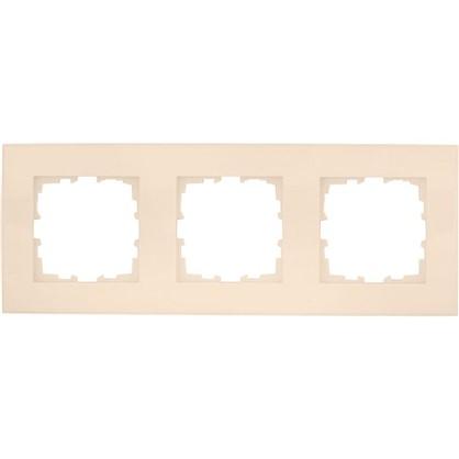 Рамка плоская для розеток и выключателей 3 поста цвет бежевый