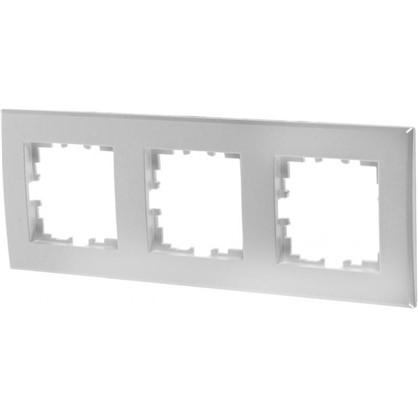 Рамка плоская для розеток и выключателей 3 поста цвет жемчужно-белый