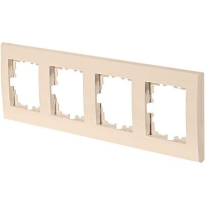 Рамка плоская для розеток и выключателей 4 поста цвет бежевый