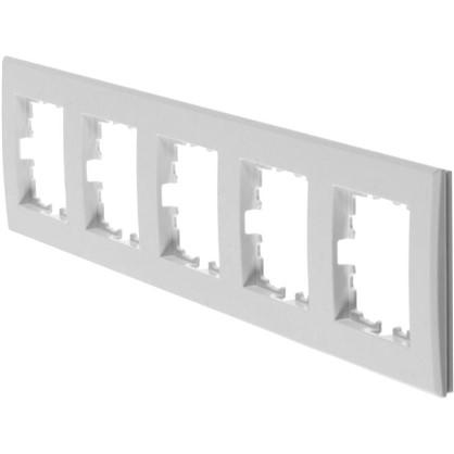 Рамка плоская для розеток и выключателей 5 постов цвет белый