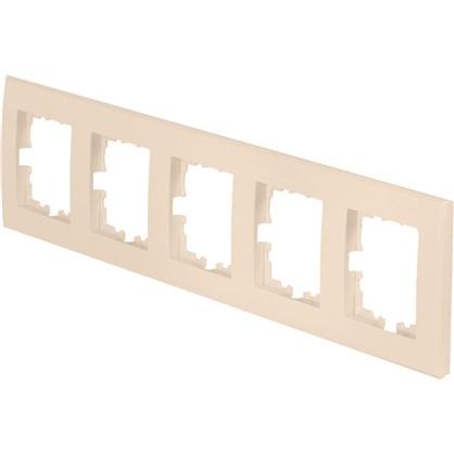 Рамка плоская для розеток и выключателей 5 постов цвет бежевый