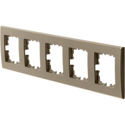 Рамка плоская для розеток и выключателей 5 постов цвет бронза