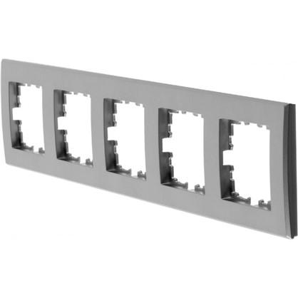 Рамка плоская для розеток и выключателей 5 постов цвет серебристый