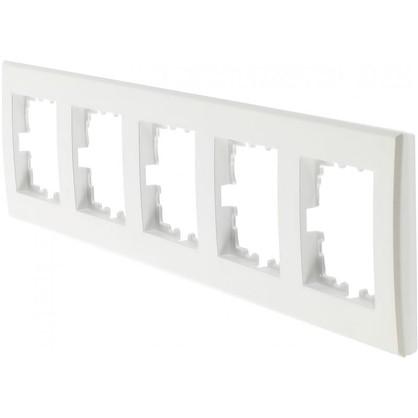 Купить Рамка плоская для розеток и выключателей 5 постов цвет жемчужно-белый дешевле