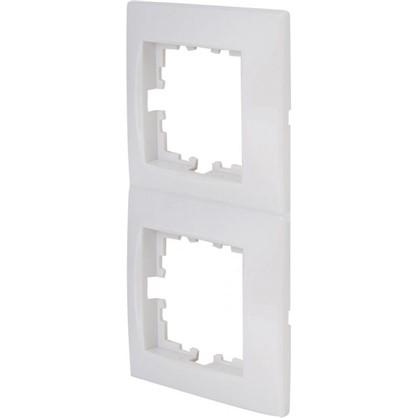 Рамка сферическая для розеток и выключателей Виктория 2 поста цвет белый