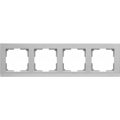Рамка Stark 4 поста цвет серебряный