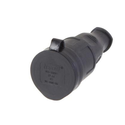 Розетка чёрная с заглушкой Lezard 250 В