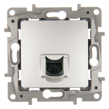 Купить Розетка компьютерная Etika RJ45 UTP cat 6 цвет алюминий дешевле