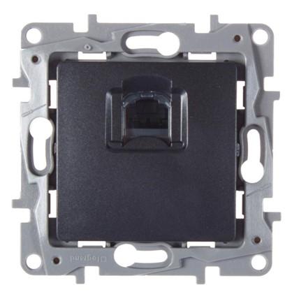 Розетка компьютерная Etika RJ45 UTP cat 6 цвет антрацит
