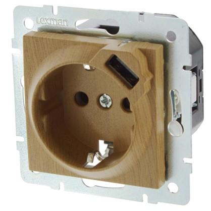 Розетка Lexman Виктория с заземлением разъем USB цвет дуб классический матовый