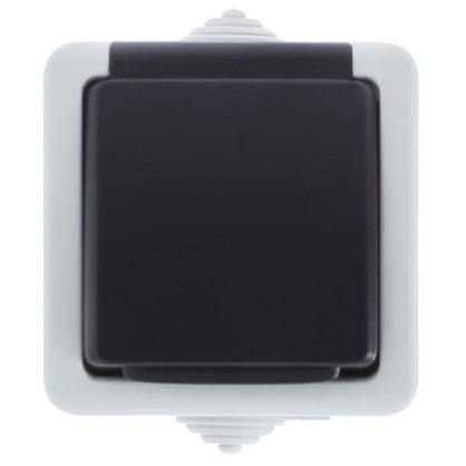 Розетка с заземлением Aqua цвет серый IP54