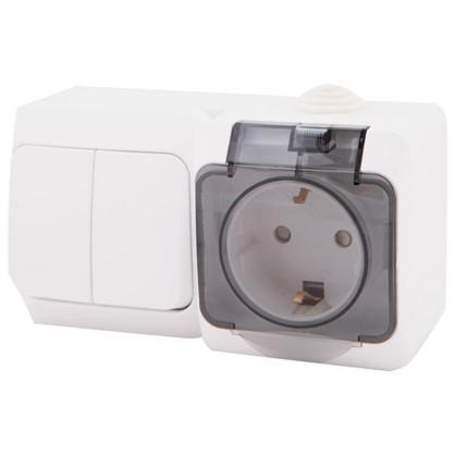 Розетка с заземлением Этюд IP44 2 клавиши шторки выключатель белая