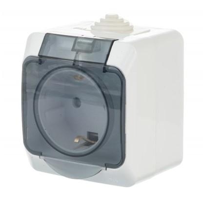Розетка Schneider Electric Этюд с заземлением шторки цвет белый IP44