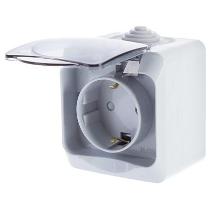 Купить Розетка Schneider Electric Этюд с заземлением шторки цвет серый IP44 дешевле
