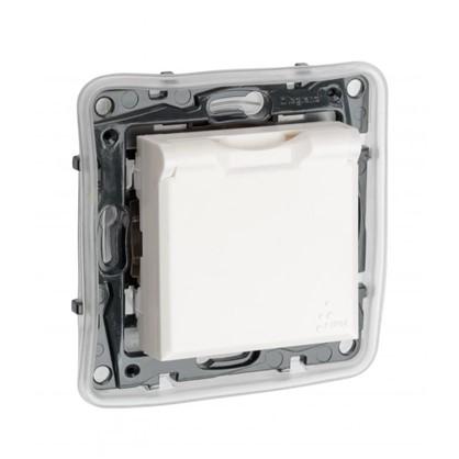 Купить Розетка влагозащищённая Legrand с заземлением с крышкой и шторками IP44 сталь цвет белый дешевле