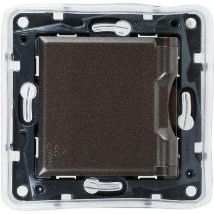 Розетка влагозащищённая Legrand с заземлением с крышкой и шторками IP44 сталь цвет магнезиум