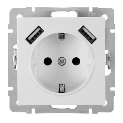 Розетка Werkel с заземлением есть шторки разъем USB цвет белый