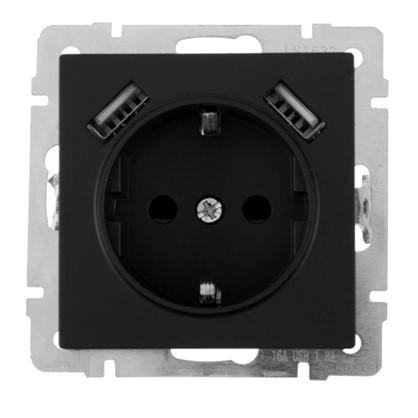 Розетка Werkel с заземлением есть шторки разъем USB цвет чёрный