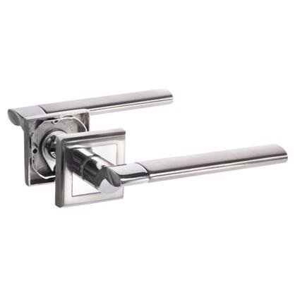 Ручка дверная на розетке Palladium Oscar SN/CP ЦАМ цвет матовый никель/хром