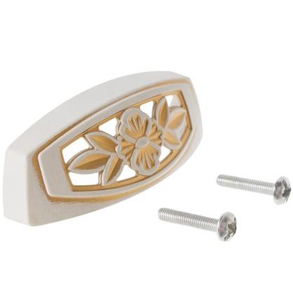 Ручка мебельная FM-088 64 мм золотой прованс/жемчуг белый матовый