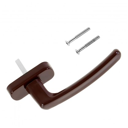 Ручка оконная для ПВХ окон 125 мм пластик/сталь цвет коричневый