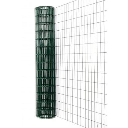 Сетка сварная оцинкованная размер ячейки 60x100 мм 1.5x15 м ПВХ цвет зелёный