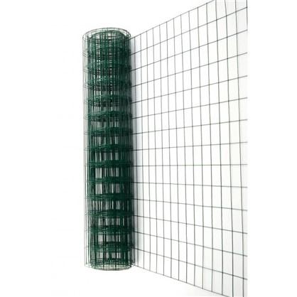 Сетка сварная оцинкованная размер ячейки 60x100 мм 1.8x15 м ПВХ цвет зелёный