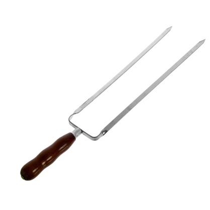 Купить Шампур металлический 45 см двойной с деревянной ручкой дешевле
