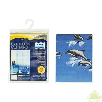 Купить Штора для ванной Bath Plus Dolphin Dance 180x180 см цвет голубой дешевле