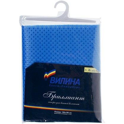 Штора для ванной Бриллиант 180х180 см цвет голубой