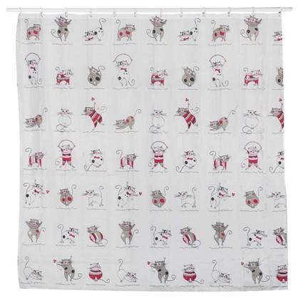 Штора для ванной Funny Cats 180x180 см цвет серый