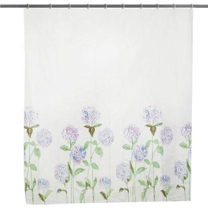 Штора для ванной Гортензия 180х200 см цвет белый