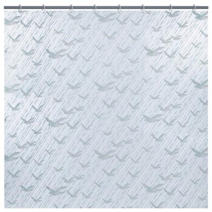 Штора для ванной Гуси-лебеди 180x180 см цвет белый
