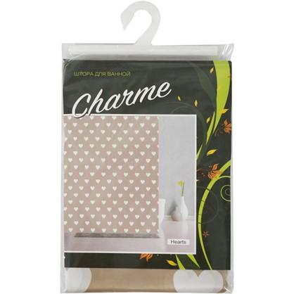 Купить Штора для ванной Hearts 180х200 см цвет бежевый дешевле