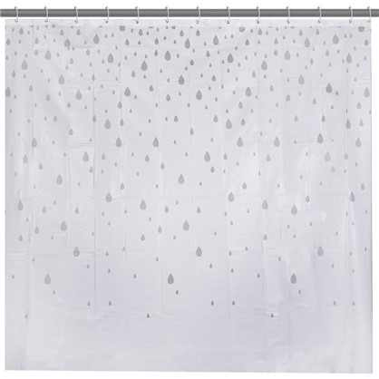 Штора для ванной Капли 180х180 см цвет белый