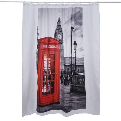 Купить Штора для ванной London print 180x200 см цвет серый дешевле