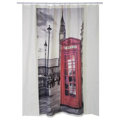 Штора для ванной London print 180x200 см цвет серый